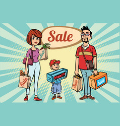 family dad mom and son with shopping on sale vector image vector image