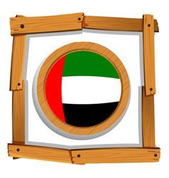 flag of arab emirates on wooden frame vector image