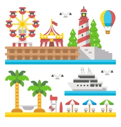 Flat design beach carnival park vector image vector image