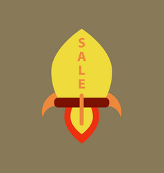 Flat icon of sale rocket vector