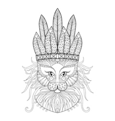 Fluffy cat with warbonnet vector