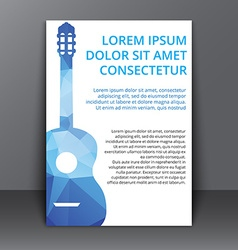 Flyer with polygonal guitar vector