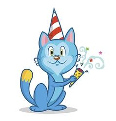 Funny cat celebrates birthday vector