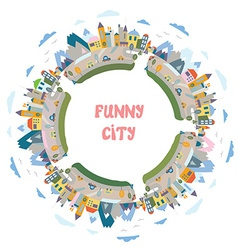 Funny town round frame - design element vector image