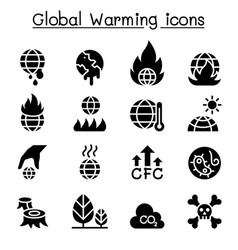 Global warming icon set vector