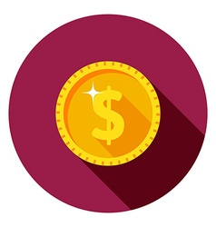 Gold coin dollar vector