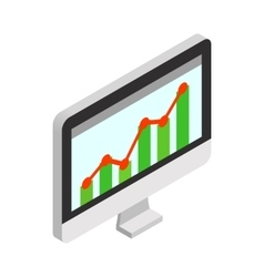Graph on the computer monitor icon vector image