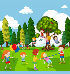 many children playing games in park vector image