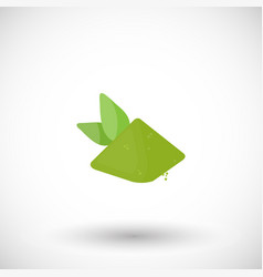 Matcha tea powder with leaves flat icon vector