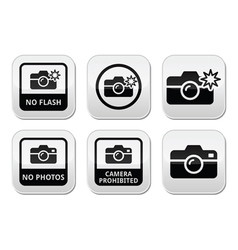 No photos no cameras no flash buttons vector image vector image