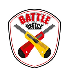 Office battle emblem Two crossed stationery knife vector image vector image