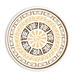 Petroglyph Round Emblem vector image vector image