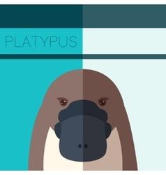Platypus flat postcard vector