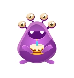 Purple Toy Monster With Birthday Cake vector image vector image