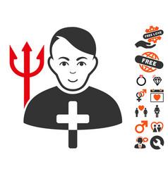 Satan priest icon with love bonus vector