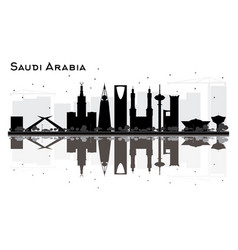 saudi arabia skyline black and white silhouette vector image vector image