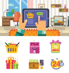 Shopping in internet vector image vector image