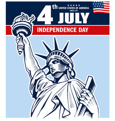 Statue of liberty nyc usa independence day vector