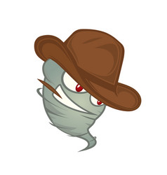texas tornado with red eyes in a cowboy hat with a vector image