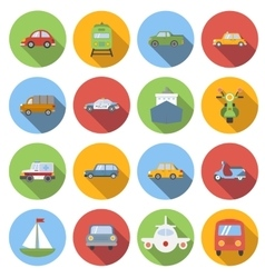 Transportation icons set flat style vector image vector image