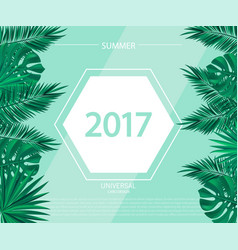 Trendy summer banner poster with tropical plants vector