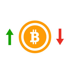 Up and down arrows bitcoin course flat icon vector