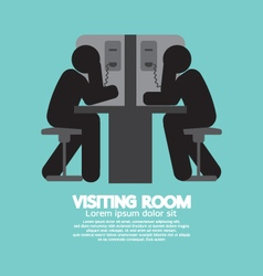 Visiting room of visitor and prisoner illus vector