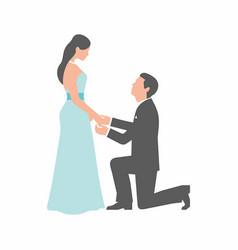 Wedding couple on white background vector