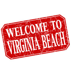Welcome to virginia beach red square grunge stamp vector