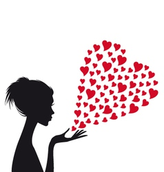 Woman with red hearts vector