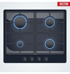Surface of gas stove with flame vector