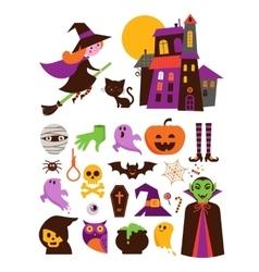 Halloween cute icon set vector image