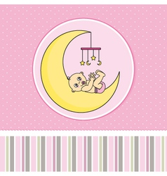 Baby girl birth announcement card vector
