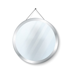 Round mirror with steel frame vector
