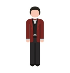 Full body man formal suit bowtie vector