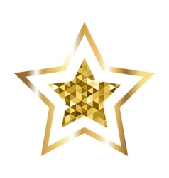 Golden five pointed star icon vector