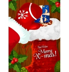 Santa with christmas sock on wooden background vector
