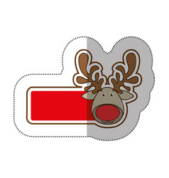Sticker shading with banner with face reindeer vector