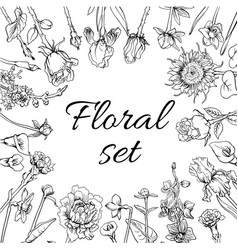 Vintage monochrome blossom flowers set vector