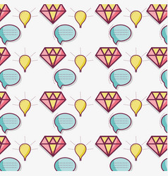Flat line bubble diamond and bulb pattern vector