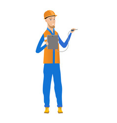 Caucasian electrician with electrical equipment vector
