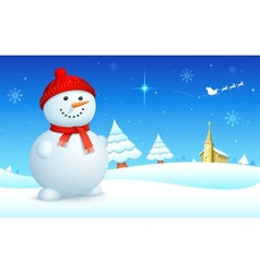 Snowman on christmas night vector