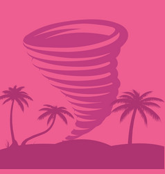 caribbean tornado against the backdrop of palm vector image
