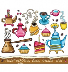 Cute coffee mate tea set vector