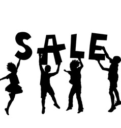 Children holding a sale message vector image