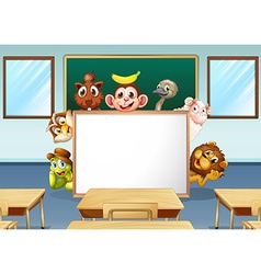 Animals in classroom vector