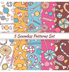 Sketch doodle candies sweets seamless patterns set vector