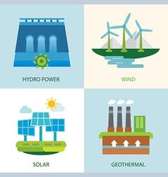set of renewable energy vector image