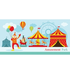 Amusement park circus clown vector