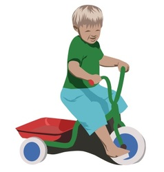 Boy with tricycle vector